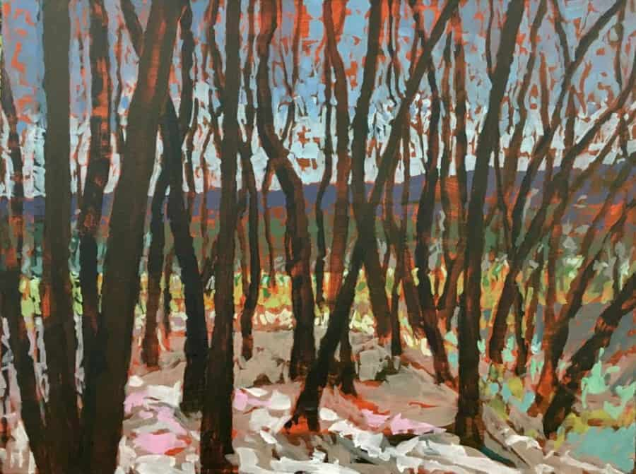 Abstract expressionist scene looking through Allesverloren woods towards Boland Mountains.  Vivid brush strokes in a colour pallet of blues, purples, green. pale yellow, beige, pink, brown and orange.
