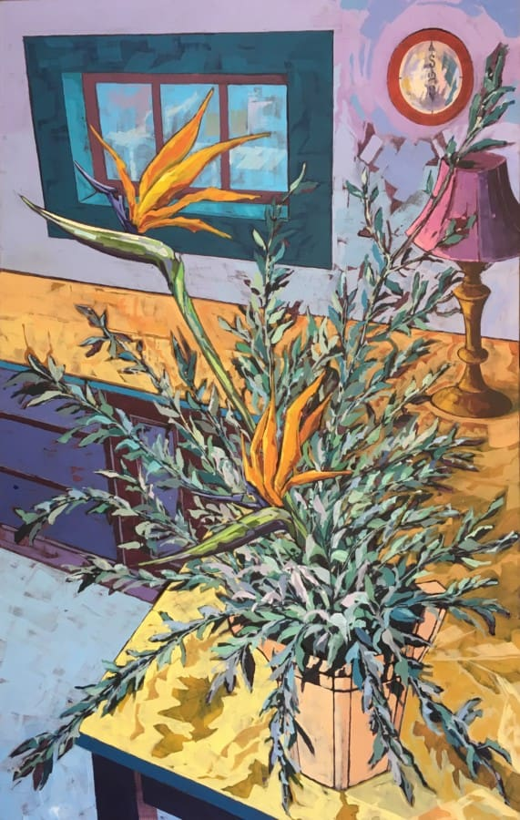 Expressionist still life with strelitzia and olive leaves on a wooden kitchen counter.  Colour palette of blues, purples, orange and green.