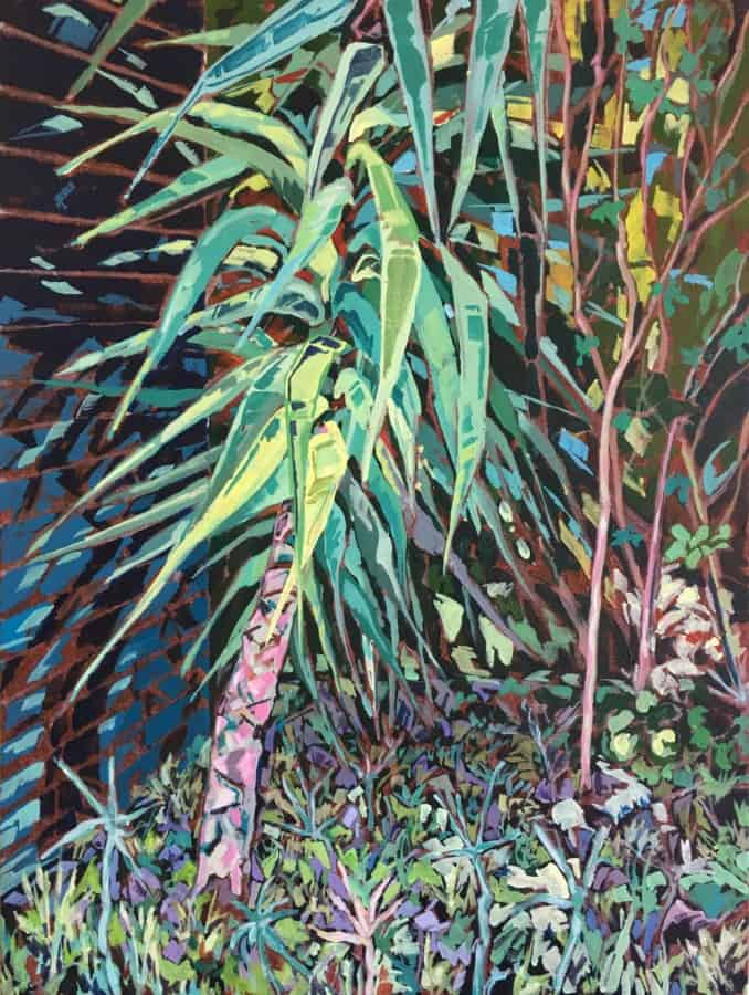 Expressionist painting of yucca tree and ground vegetation with fence and building in the background. Vivid brush stokes and a colour palette of greens, blues & purples.