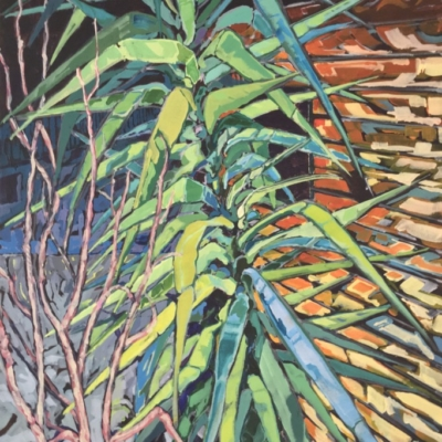 Yucca plant with undergrown beside a garden shed. Expressionist brush strokes with a palette of greens, yellow, rust, purple, blue and black.