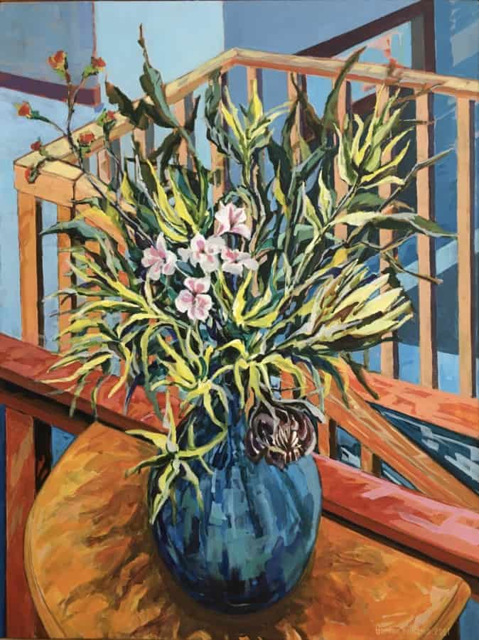 Expressionist still life of proteas and flowers in a blue vase on a half round table with banisters in the background.  Vivid brush strokes with a colour palette of oranges, blues, greens & yellow.