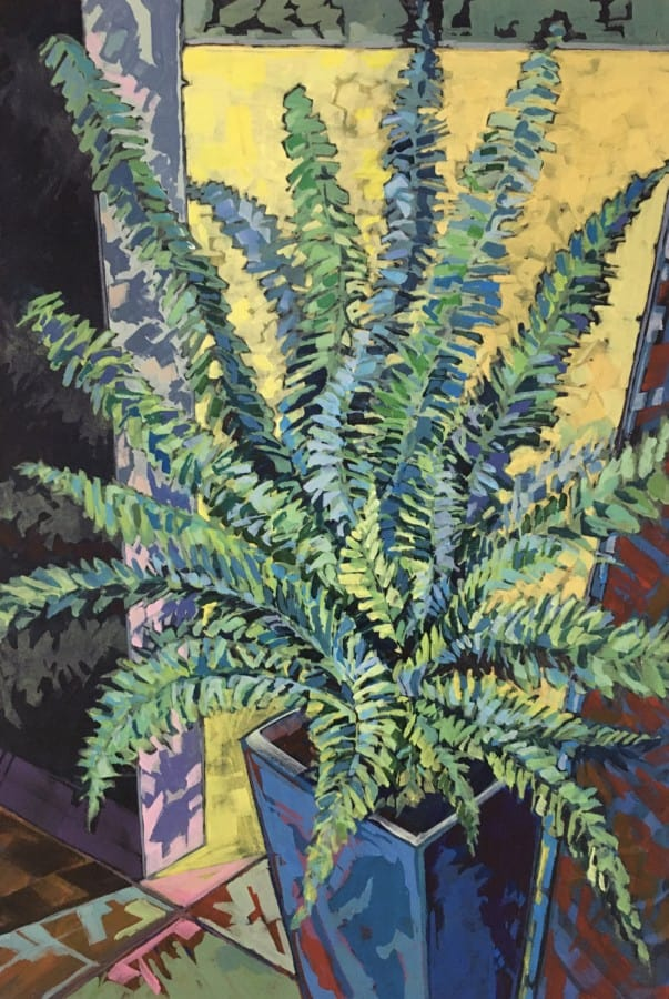 Expressionist painting of fern in square pot. Vivid brush stokes and a colour palette of greens, blues, yellow, pink & rust.