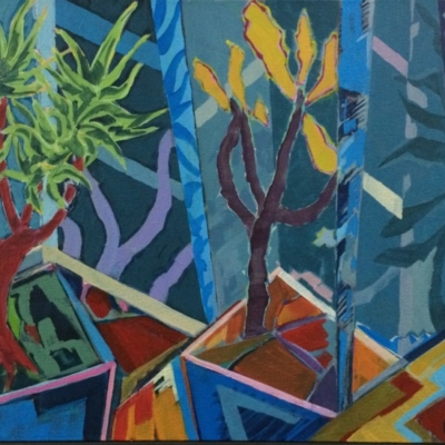 Abstract expressionist painting of quiver tree in pot with angular shapes.  Colour palette of blue, rust, green, lilac, cream, purple & mustard.