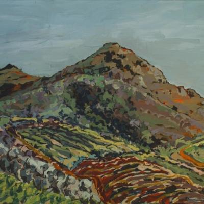 Expressionist painting of Kasteelberg Mountain with fynbos and vineyards.  Vivid brush strokes in sky blue, greens, beige, browns & orange.