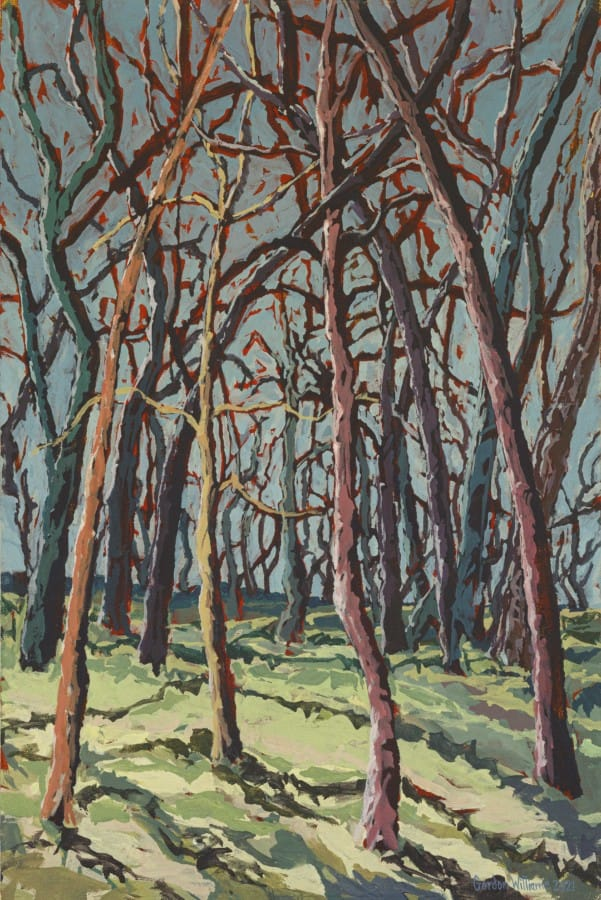 Expressionist painting of pine tree trunks at Kloovenburg 'Kringe in die Bos'.  Vivid brush stokes and a colour palette of sky blues, greens, purples and warm browns.