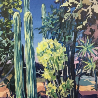 Expressionist painting of cactus garden in blues, greens, yellow, lilac and browns.