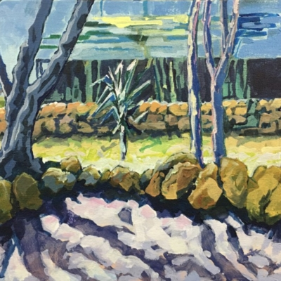Expressionistic brush strokes of trees, shadows, path, stone wall and distant buildings. Colour palette of yellow, mustard, purple, blues, greens and violet.