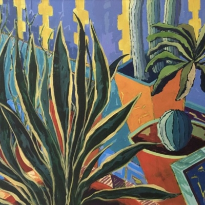 Abstract expressionistic plants in pots with angular shapes,  Vivid brush strokes and a palette of greens, blues, turquoise, purple, yellow & orange.