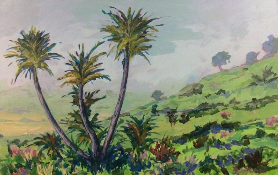 Misty Swartland scene of palms in a valley. Colour palette of greens, pale blues & lilac greys.