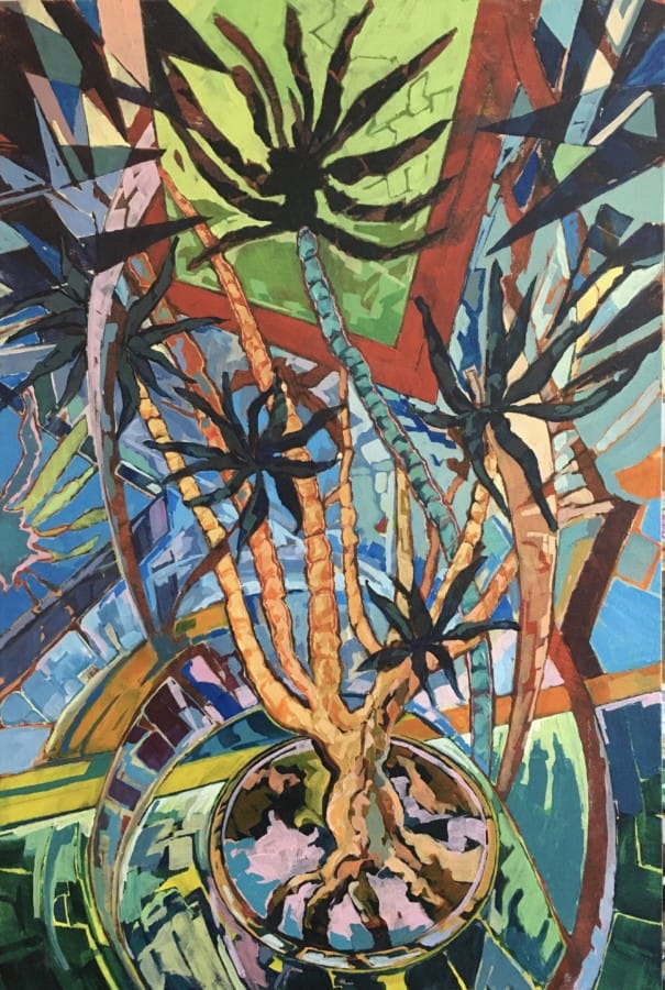 Abstract expressionistic quiver tree in pot with courful shapes in vidvd brush strokes on a varied palette.