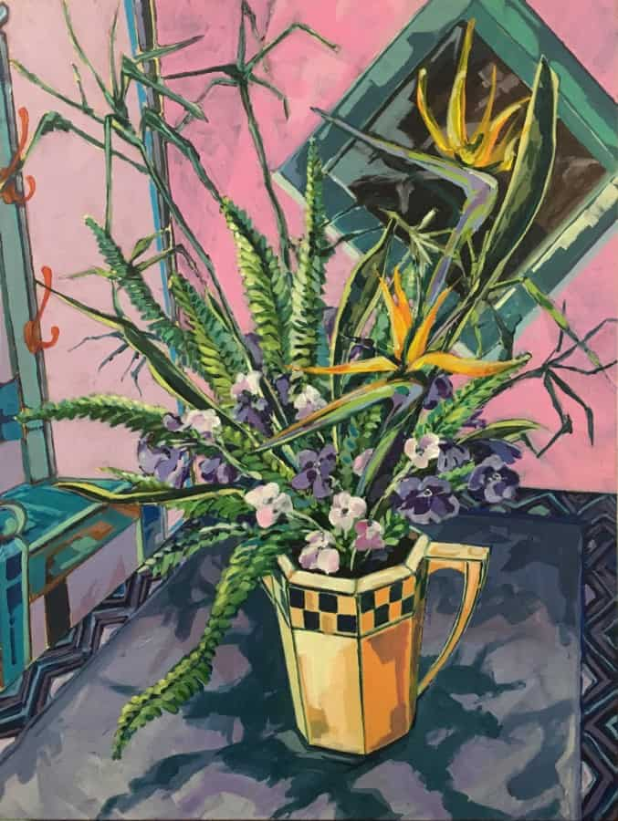 Expressionist still life in Royal Dalton jug with strelitzia, ferns and flowers on a purple table cloth against a pink wall.  Colour palette of purple, pink, green, jade with touches of orange and pink.
