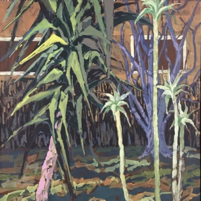 Expressionist painting of yucca tree and ground vegetation with fence and building in the background. Vivid brush stokes and a colour palette of greens, terracotta, yellows and lilac.