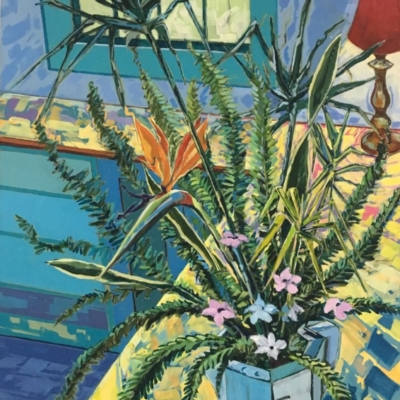 Expressionist painting of still life in a white Royal Dalton jug with reeds, strelitzia, ferns and flowers.  Vivid brush strokes with a colour palette of turquoise, blues, yellow with touches of red and pink.