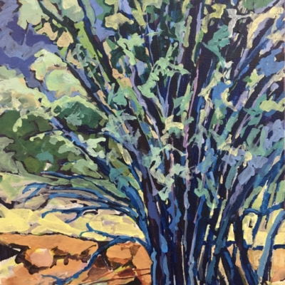 Expressionist view of a clump of spindly trees with a colour palette of blues, greens, yellow and orange.