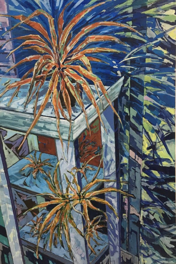 Expressionist painting of hen and chicks plants on a stand with shadows on the wall.  Vivid movement with colour palette of blues, yellow and rust.