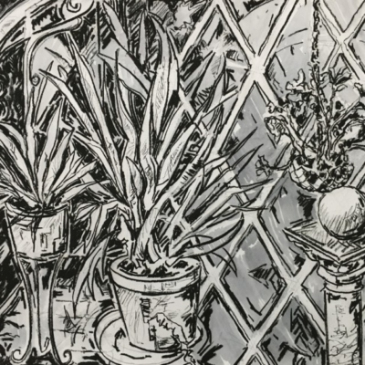 Expressionist scene of various pot plants on plant stands with trellises in the background.